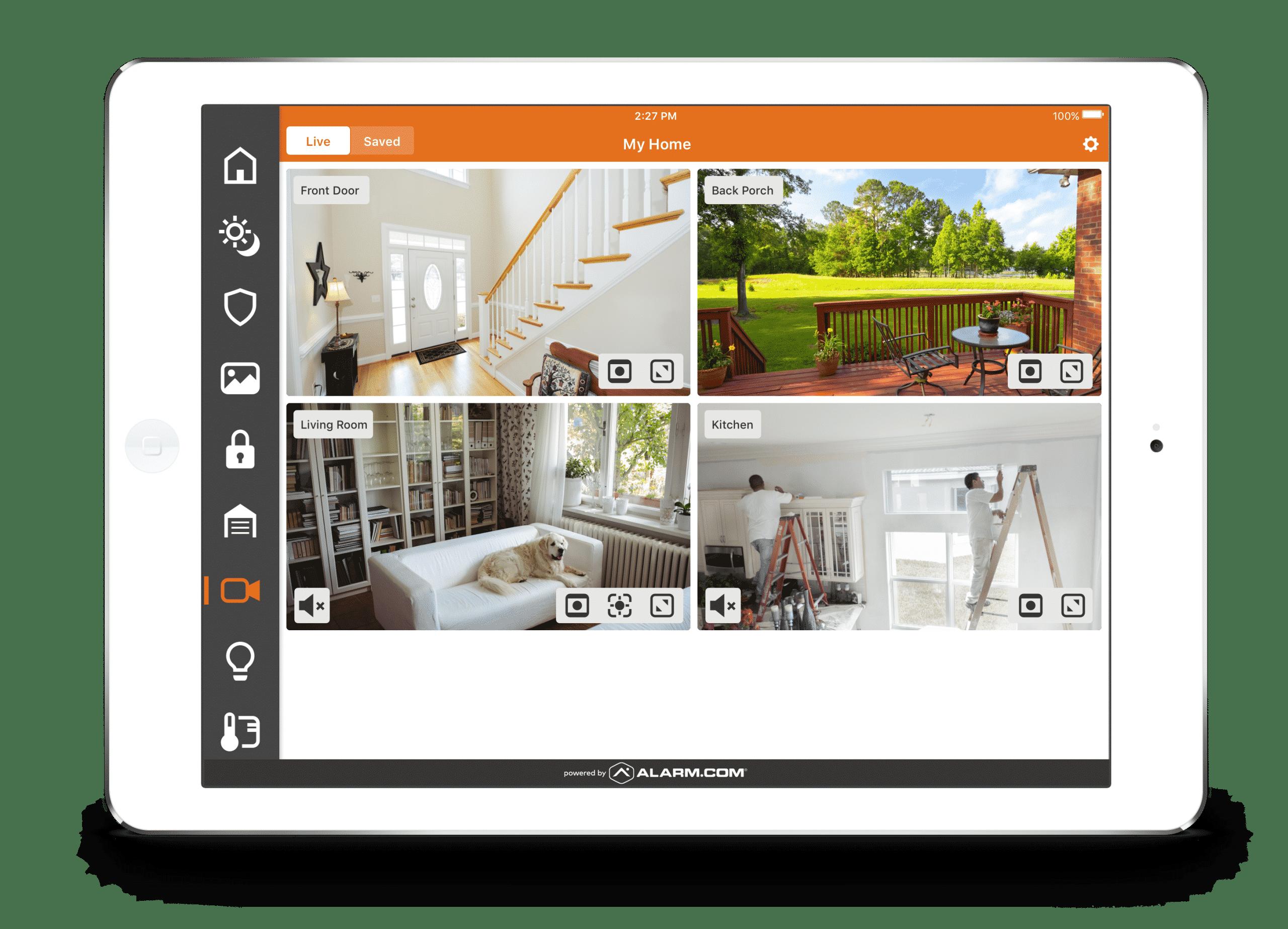 Indoor Monitoring Through Alarm dot com app Frase Protection Memphis